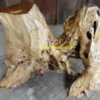 Furniture Akar Kayu Jati Solid Erosi & Gembol Meja Pajangan (B.6)