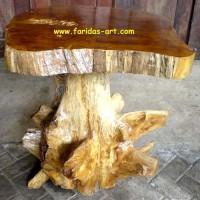 Furniture Akar Kayu Jati Solid Meja Telepon Model Jamur (D.27)