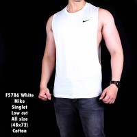 F5786 Singlet Tanktop Dropped Arm Low Cut Nike Putih