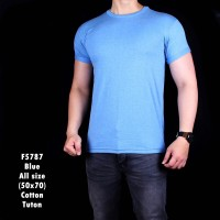 Jual F5787 Kaos Pria Cotton Tuton Light Blue Polos Murah