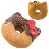 Jual NEW Gantungan Kunci Hello Kitty Squishy - Big Donut Half Coklat Murah
