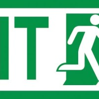Sticker Fosfor Exit Sign - Glow Safety Sign - Uk. 10 x 30 cm