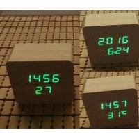 Jual jam meja unik led kayu digital wood clock sensor temperatur Murah