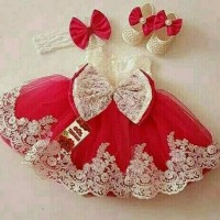 Jual Princess Red dress natal anak cantik dress anak imlek Murah