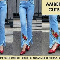 Celana Jeans Wanita Amber Flower Patch Cutbray Bunga Bordir Big Size