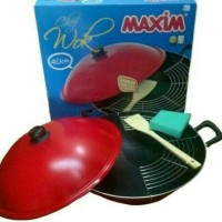 maxim wok wajan penggorengan teflon 40 cm dengan tutup dan saringan