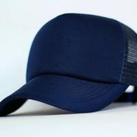 Topi Jaring Polos Trucker Hat Biru Navy Pengait Klip Plastik b7f4a5a5b0