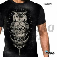 Jual Pakaian Kaos 3D Full Print Skull Owl Murah
