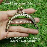 BC0325 Behel Lengkung / Oval Ukir Import 8,5cm Bronze / Emas Bakar