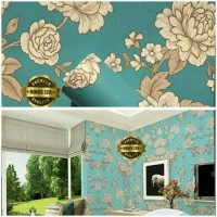 Harga wallpaper sticker hijau toska batik bunga | Pembandingharga.com
