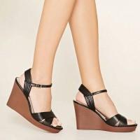 sepatu wanita heels pesta party black forever 21 shoes original 100%