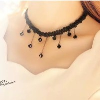 Jual  Kalung Cantik & Manis Choker A15 Lace Vintage With Bead Neck T2909 Murah