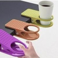 Jual Plastic Table Coffee Cup Holder Cup Clip tempat minum meja kerja hemat Murah