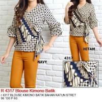 Jual R Blouse Kimono Batik Navy, Hitam, Maroon, Coklat Murah