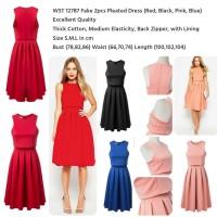 Jual VINY - WST 12787 (RED S)(BLUE S,M) Fake 2pcs Pleated Dress bs021017 im Murah