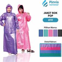 Jual TERLARIS Jas Hujan Rok Polkadot Plevia ROK POP 870 Muslimah Perempuan  Murah