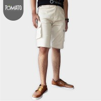 Jual Celana Pendek Cargo Chinos Pria Cream - Tomato Clothing Murah
