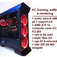 Jual PC Gaming & Editing-rendering - AMD A10 CPU 4.20 GHZ 12 Compute Cores  Murah