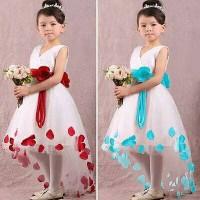 Baju Gaun Pesta Anak Perempuan Putih Kelopak Bunga Mawar