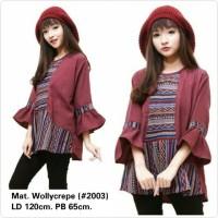Jual Blouse Wanita Big Size Kombinasi Songket Batik Crepe 5XL LD 120 Murah