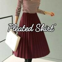 Jual New Muin Pleated Skirt(#605-1)/Rok velvet/Rok maxi midi/Rok kerja/Rokp Murah