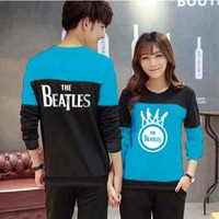 Jual [Cp Beatles Turquise LT] sweater couple babyterry turquise Murah