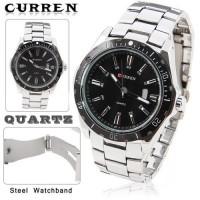 Jual CURREN Watch Jam Tangan Analog Pria MK1 Silver Black Perak Hitam Murah