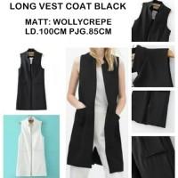 Jual LONG VEST COAT BLACK / ROMPI HITAM CASUAL FORMAL Murah