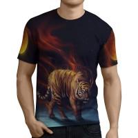 Kaos T-Shirt Pria Tema TIGER 3D Full Print  - Art 3