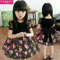 Jual Baju Dress Cantik Dress Pesta Anak Perempuan-DRESS KID BUNGASHAN HITAM Murah