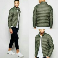 Jaket Winter Pull And Bear Puffer Quilted Padded Jacket Olive Original