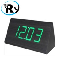 Jual  LED Digital Wood Clock  JK828  Black Green T1310 Murah