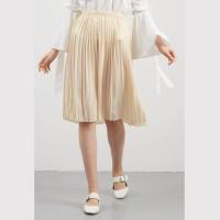 Jual rok pleated midi cewek skirt lipat wanita krem pinggang karet clo337 Murah