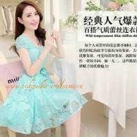 Jual Korea Dress A1 Chiffon Lace Short Sleeved Mini Dress Midi Dress Murah