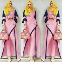 setelan baju muslim hijab slit long blouse tunik celana jogger panjang