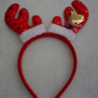 Jual Bando natal tanduk rusa merah dg krincingan & pita Murah