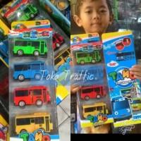 The little bus TAYO set isi 4 mainan anak bisa buka pintu ban karet