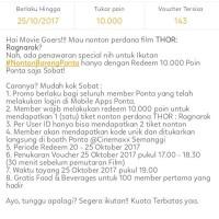 2 voucher tiket perdana Thor : Ragnarok di Cinemaxx Semanggi