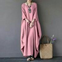 Long Dress Rihana Pink Busana Muslim Kekinian Gamis Modern
