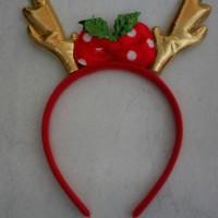 Jual Bando natal christmas tanduk rusa emas pita polkadot Murah