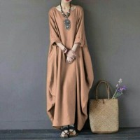 Long Dress Rihana Mocca Busana Muslim Kekinian Gamis Modern