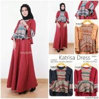 Jual Long Dress Maxi Wanita Muslim peplum etnik katrisa Murah