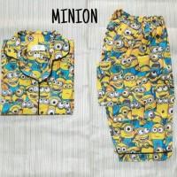 Jual Baju Tidur Piyama Sleepwear Katun Cp Wanita Cewek Kancing Busui Minion Murah