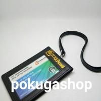 nametag kulit pln gold / name tag kulit + tali kulit / id card holder