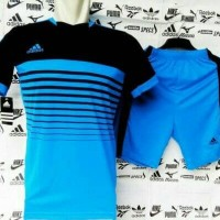 Setelan Futsal sepak bola adidas garis biru hitam new