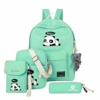 harga Tas Ransel. Selempang.pouch 4in1 Lazy Panda Hitam. Pink. Abu. Biru R3 Tokopedia.com