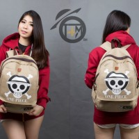 Tas Backpack Denim Anime One Piece Coklat - Kartun Onepiece pd