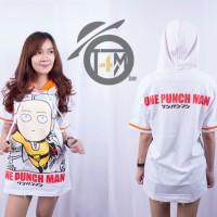 Jual Baju Hoodie Anime One Puch Man (Saitama) Putih - Kaos Tshirt Kartun pd Murah
