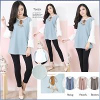 Jual Korean blouse flare long sleeves lengan panjang with feather lace lucu Murah