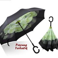 Jual Payung Terbalik Kazbrella C Handle HIJAU BUNGA  FREE Bubblewrap Murah
